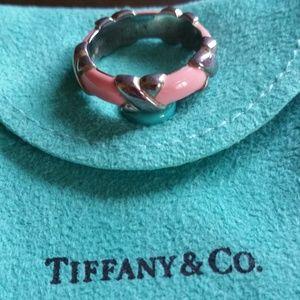 Tiffany pink enamel.925 ring